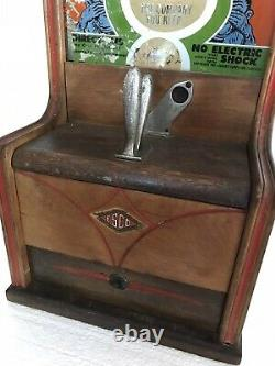 1940 ESCO One Cent Fortune Predictions Coin Op Vending Machine Working 28 Tall