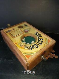 Antique Select'Em dice game coin machine, trade simulator 1933, slot machine