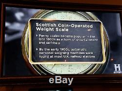 L@@K! Scottland Coin Operated Glasgow Barometeter Penny Weight Scale Machine