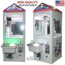 New 110V Mini Toy Claw Crane Game Machine Catch Fun Candy Catcher Coin Acceptor