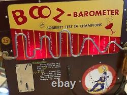 RARE 25 Cent Vintage Working Booz Barometer Nickel Coin Operated Machine
