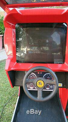 Rare SEGA Turbo Outrun Sit Down Driving Race Car Cockpit Arcade Game Machine