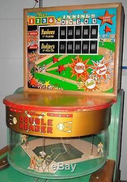 1950 Williams Double-tête Aléatoire Alley Baseball Machine Withpop Runners Vers Le Bas