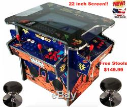 4 Joueur Cocktail Arcade Machine1162 Jeux Classiques 155lb + 2 Tabourets Nouveau