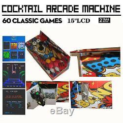 Arcade Cocktail Machine Avec 60 Jeux Classiques Mode Coin Jeu Vidéo Commercial