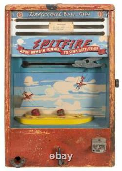 Vintage Années 1940 Spitfire Wwii Airplane Gumball Arcade Game Scientific Machine Co