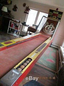 Vintage Arcade 10ft Skee Machine De Boule De Rare Skeeball Inc. Bon Etat