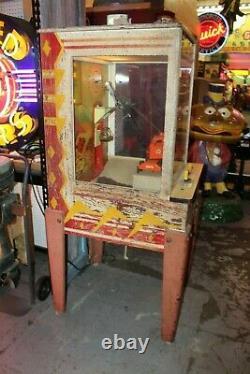 Vintage Steam Shovel Arcade Chicago Co. 10c Coin Op Claw Machine Des Années 1950